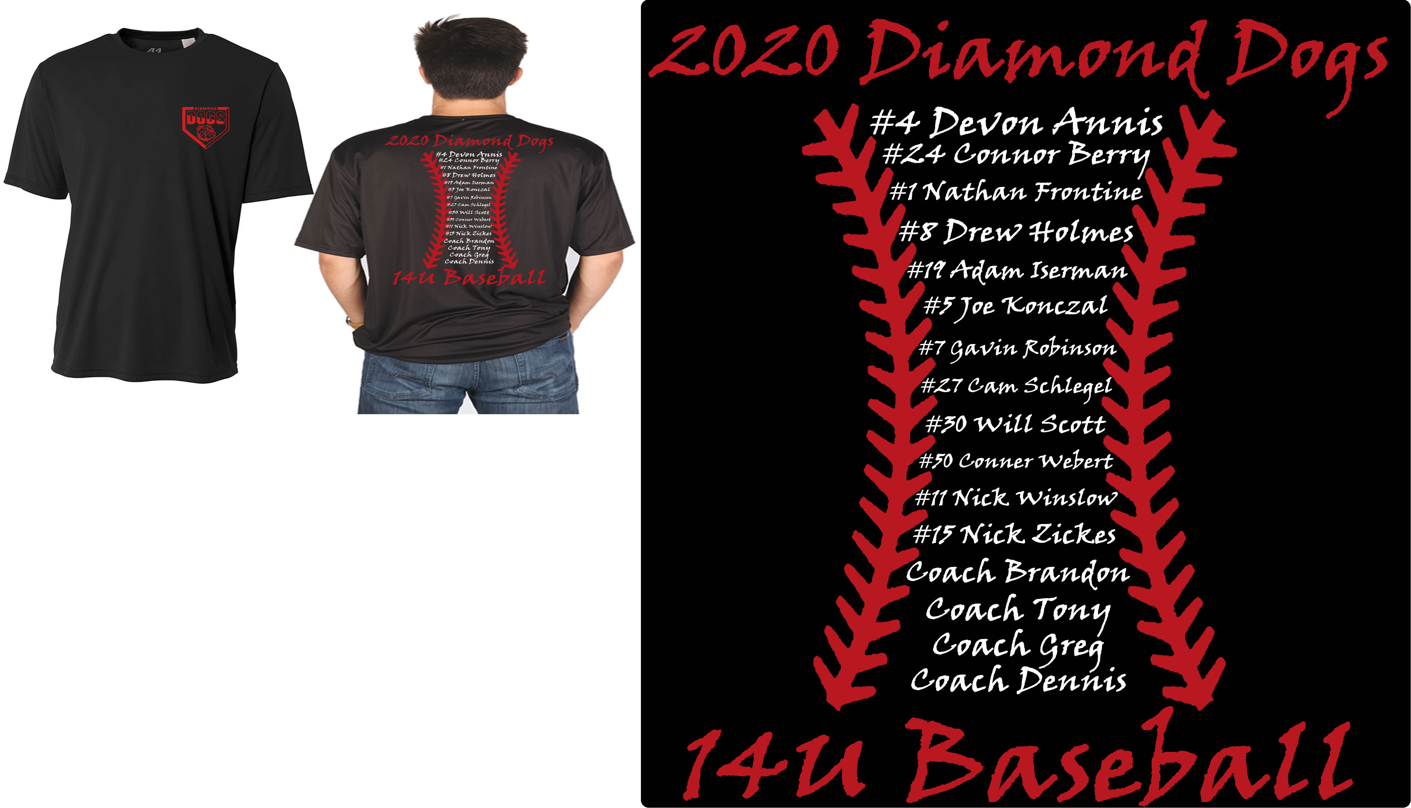 Diamond Dogs Cooling Performance Crew Roster T-Shirt