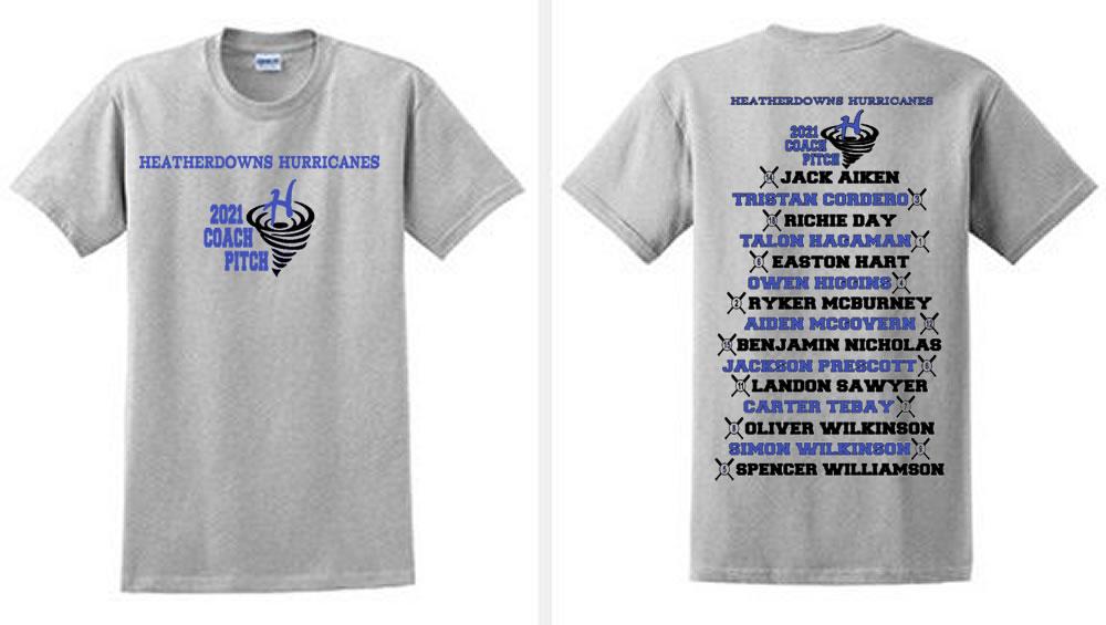 Hurricanes Team Roster Shirt - Coach Pitch