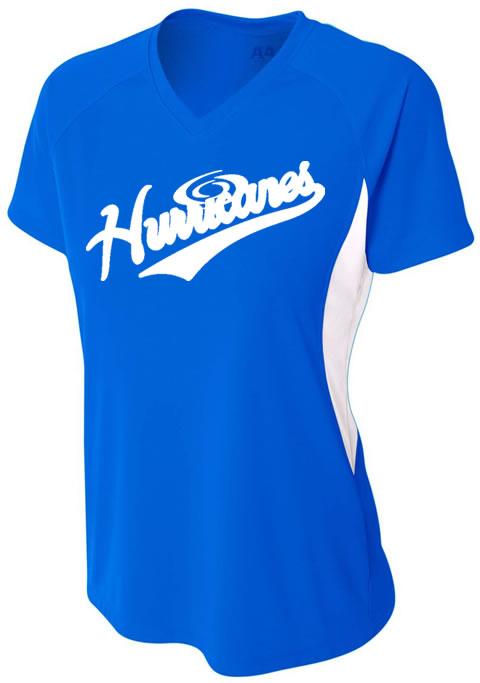 Hurricanes Script Logo Ladies Color Block V-Neck Cooling Performance T-Shirt