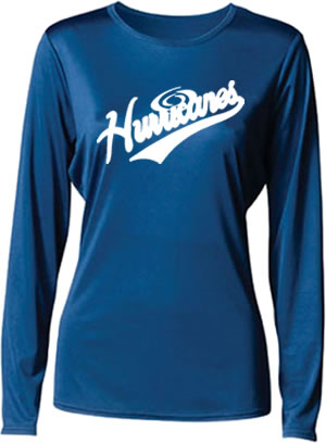 Hurricanes Script Logo Ladies Long Sleeve Cooling Performance T-Shirt