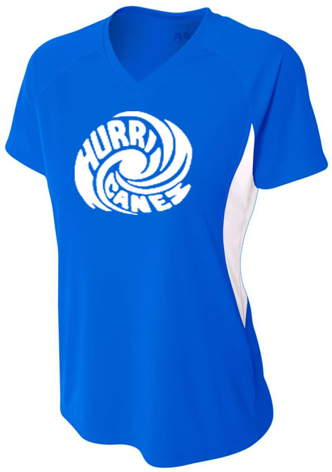 Hurricanes Swirl Logo Ladies Color Block V-Neck Cooling Performance T-Shirt