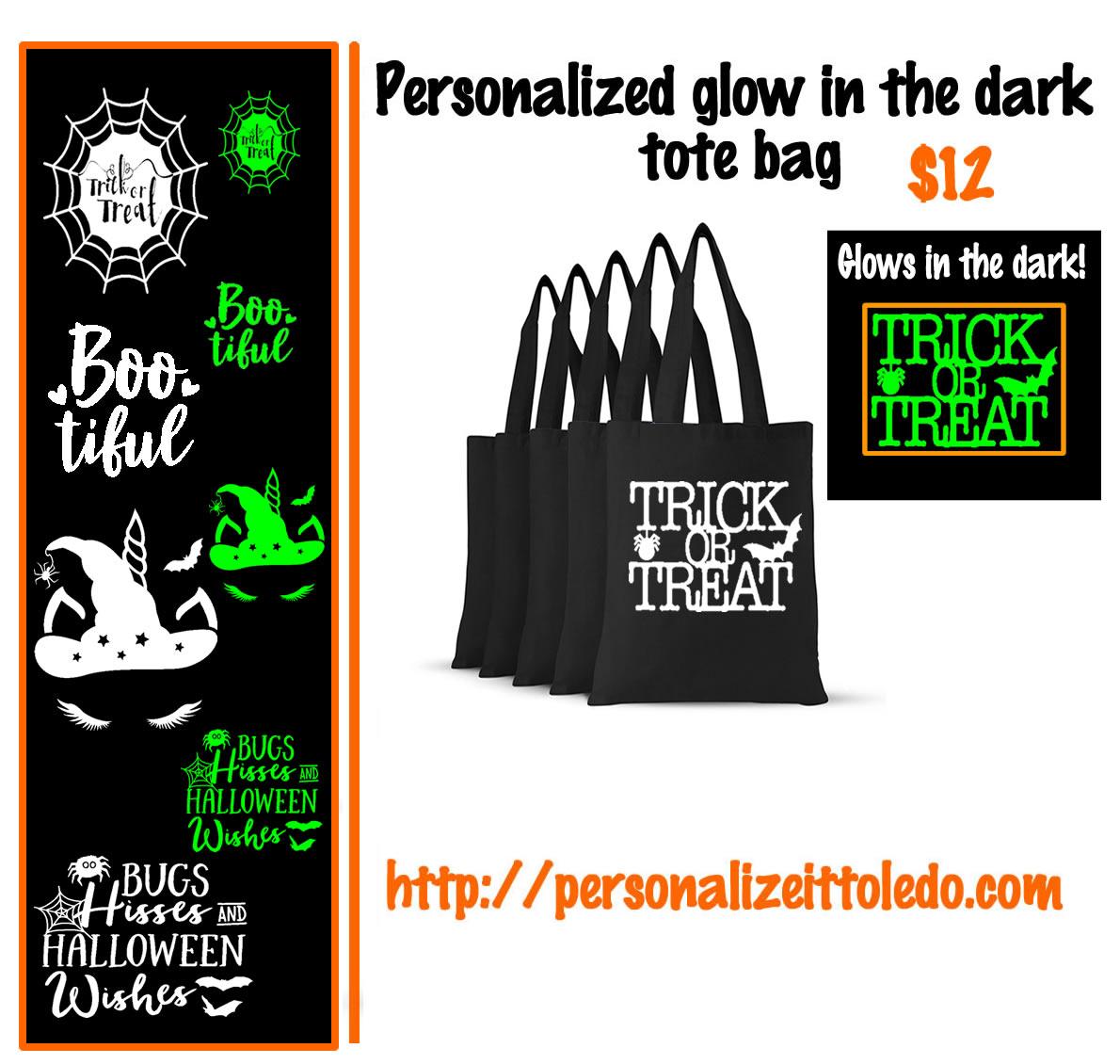 glow-in-the-dark halloween tote bag