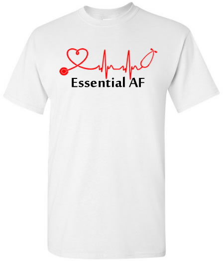 Essential AF Stethoscope With Heart T-Shirt