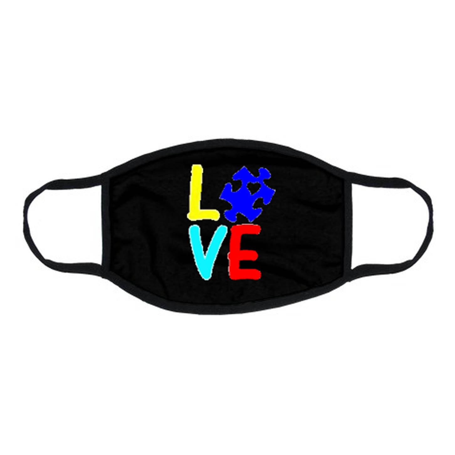 Autism Awareness LOVE Face Mask