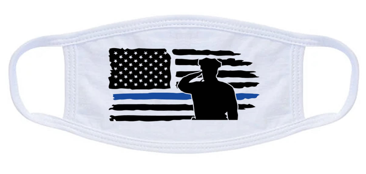Thin Blue Line Police Solute Flag Face Mask