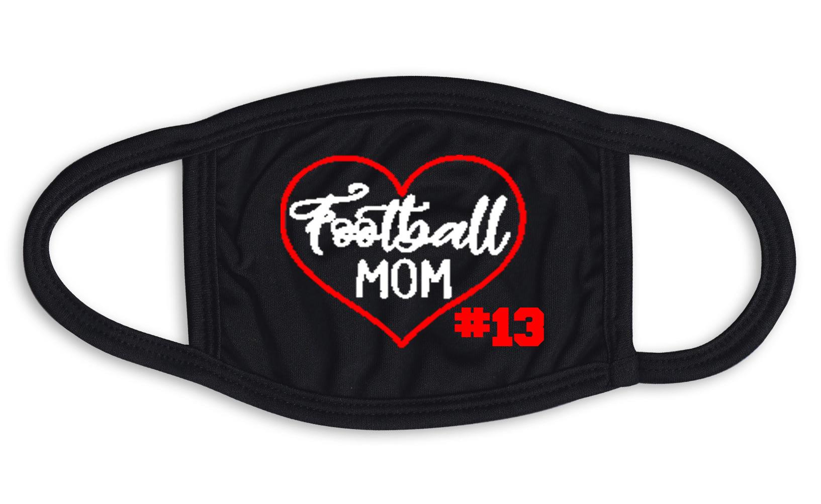 Football Mom Heart Face Mask