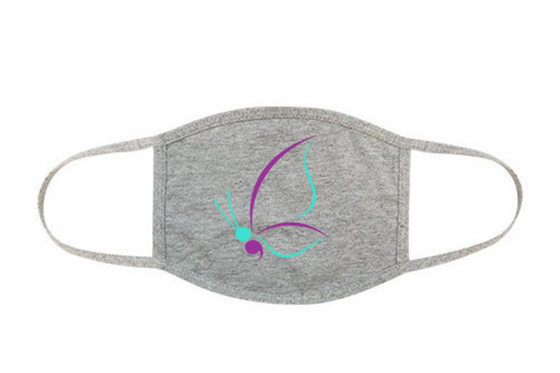 Semicolon Suicide Awareness Butterfly Face Mask