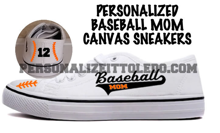 Personalized Baseball Mom Canvas Sneakers
