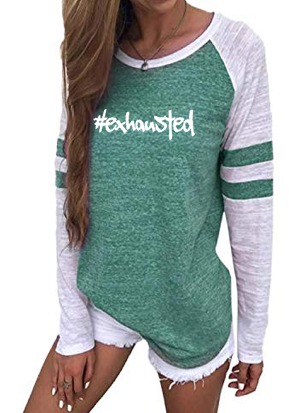 #Exhausted Crew Neck Baseball T